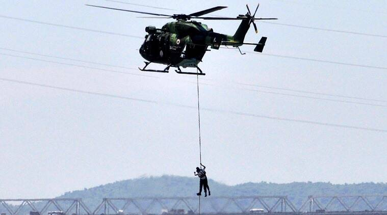 Indian Army perform mock drill how to rescue people during flood at river Brahmaputra in Guwahati on Wednesday 29th June 2016.India army plays a important role to rescue people during flood.Photo-DASARATH DEKA