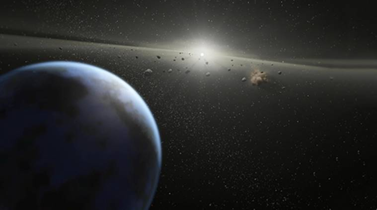 "This NASA image obtained April 30, 2010 shows an artist's animation that illustrates a massive asteroid belt in orbit around a star the same age and size as our Sun. Asteroids are chunks of rock from ""failed"" planets, which never managed to coalesce into full-sized planets. Asteroid belts can be thought of as construction sites that accompany the building of rocky planets. Announced on April 28, 2010, scientists using NASAТs Infrared Telescope Facility have detected water-ice and carbon-based organic compounds on the surface of an asteroid. The cold hard facts of the discovery of the frosty mixture on one of the asteroid belt's largest occupants, suggests that some asteroids, along with their celestial brethren, comets, were the water carriers for a primordial Earth. AFP PHOTO/NASA/JPL-CALTECH /HANDOUT/RESTRICTED TO EDITORIAL USE"
