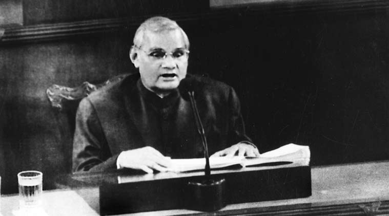 Vajpayee addresses the joint session of Congress on Capitol Hill. (Express Archive)