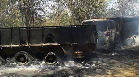 Jharkhand: Maoists blow up building, torch vehicles
