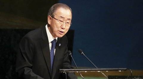 United Nations Secretary General Ban Ki-moon speaks during a ceremony to mark International Holocaust Remembrance Day at the United Nations headquarters in the Manhattan borough of New York, January 27, 2016.     REUTERS/Carlo Allegri