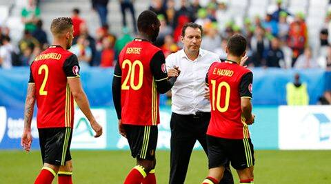 Football Soccer - Belgium v Republic of Ireland - EURO 2016 - Group E - Stade de Bordeaux, Bordeaux, France - 18/6/16 Belgium's Toby Alderweireld, Christian Benteke and Eden Hazard celebrate with head coach Marc Wilmots after the game REUTERS/Michael Dalder Livepic