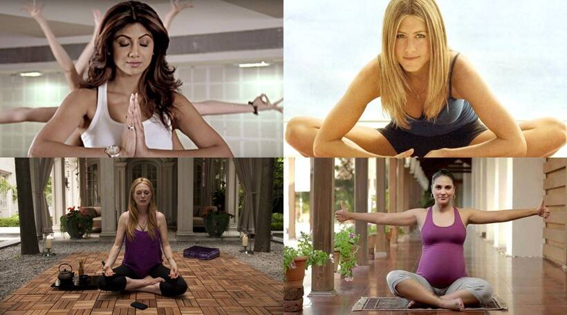 International Day of Yoga, International Yoga Day, Yoga Day, IDY 2016, celebrities who do yoga, Shilpa Shetty, Lara Dutta, Kareena Kapoor, Saif Ali Khan, Jennifer Aniston, Lady Gaga, Gwyneth Paltrow, Adam Levine, Britney Spears, Miley Cyrus