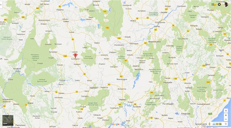 Naxals targetted the paramilitary camp at ITBHP at Kondagaon district of Chhatisgarh. (Source: Google maps)