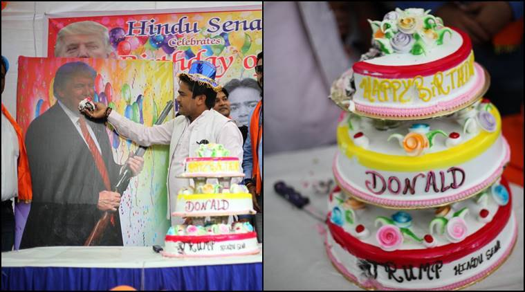 donald trump, hindu sena, trump birthday, donald trump birthday, trump birthday celebration, hindu sena trump birthday, trump anti-muslim