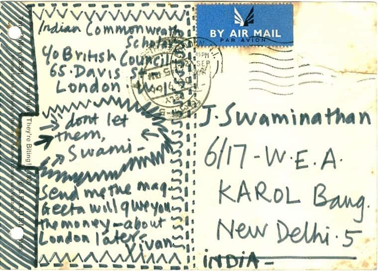 A postcard to J Swaminathan.