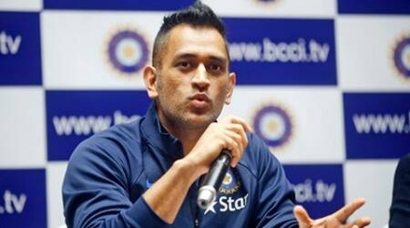 Indian cricket team captain Mahendra Singh Dhoni addresses a press conference ahead the departure of his team to Zimbabwe Cricket tour in Mumbai, India, Tuesday, June 7, 2016. (AP Photo/ Rajanish Kakade )