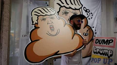 donald trump, US election, US elections 2016, dump trump, dump on trump, dump trump movement, dump trump protest shop, trump dog poop portraits, trump dog feces paintings, new york trump tower, usa news, world news, latest news