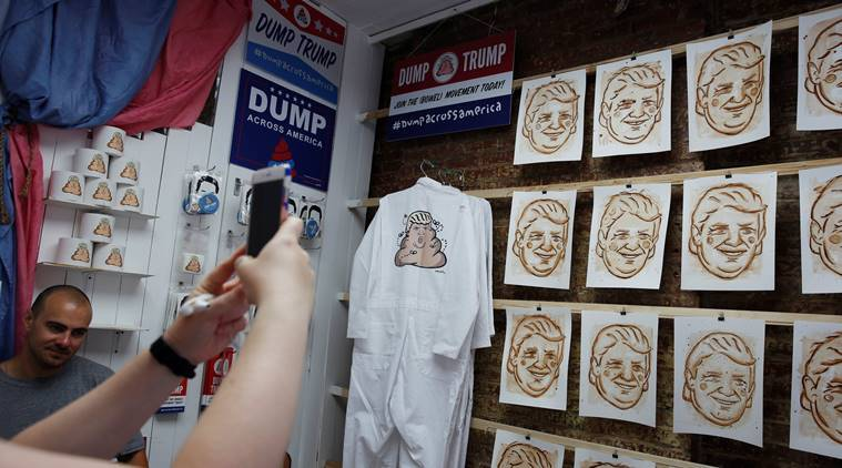 donald trump, US election, US elections 2016, dump trump, dump on trump, dump trump movement, dump trump protest shop, trump dog poop portraits, trump dog feces paintings, new york trump tower, usa news, world news, latest news