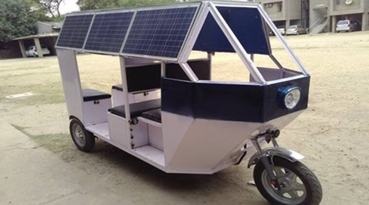 e rick, public transport, metro rickshaw, cheaper fuel, alternative fuels, electrical bicycle, NSIT, solar powered e rickshaw, student project, engineering project research
