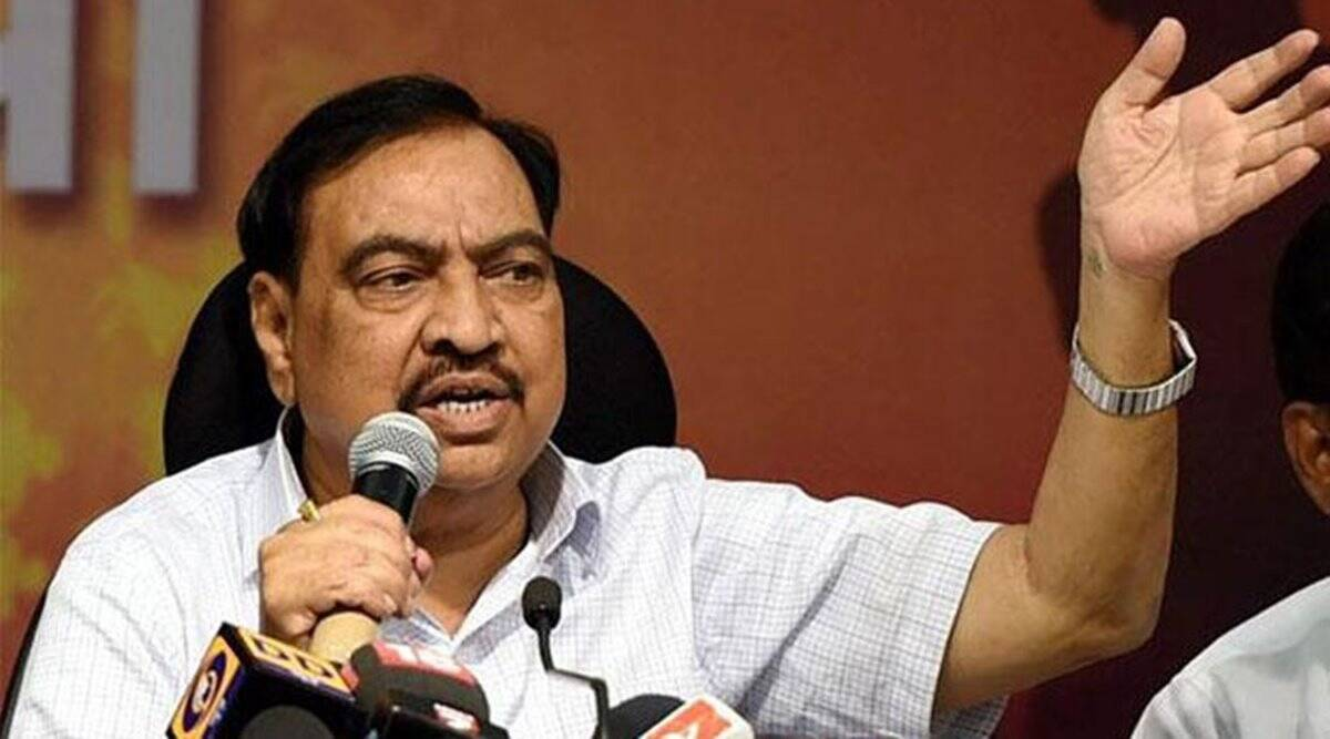 Eknath Khadse, Khadse, Pune-based realtor, Avinash Bhosle, AAP, Maharashtra revenue minister, Pune news, Maharashtra news, India news, latest news, Indian express
