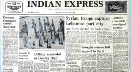 indian express forty years ago, Sanjay Gandhi, USSR, indira gandhi, Panjab University, fossils, primitive mammals, Soviet leader Leonid Brezhne, Palestinians, Mahmoud Ayoubi, indian express editorial