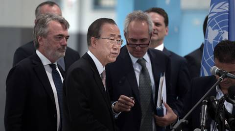 UN Secretary General Ban Ki-moon prepares himself to make a statement to the press at a UNWRA school during his visit to the Gaza Strip, Tuesday, June 28, 2016. (AP Photo/ Khalil Hamra)
