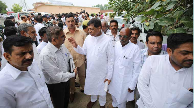 Member of Parliament Hukum Singh with BJP Fact Finding team in Village Kairana, District Shamli in Uttar Pradesh. (Source: Express photo by Praveen Khanna)