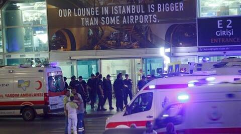 Ambulance cars arrive at Turkey's largest airport, Istanbul Ataturk, Turkey, following a blast June 28, 2016.     REUTERS/Osman Orsal