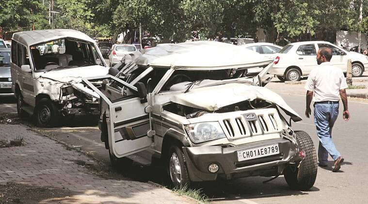 The damaged vehicles after the accident Friday.  Express photo Jaipal Singh