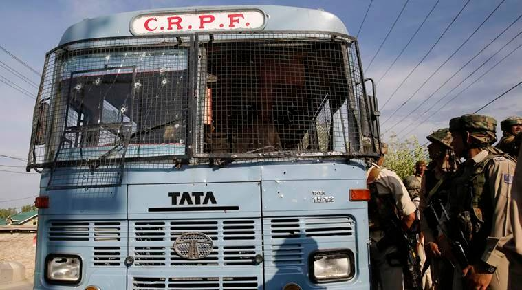 CRPF vehicle was attacked by suspected militants in Pampore, south of Srinagar on 25 June, 2016. According to local news reports, at least five paramilitary CRPF men and two militants were killed and over a dozen CRPF men injured in the shootout in Pampore town Express Photo by Shuaib Masoodi