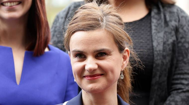 In this May 12, 2015 photo, Labour Member of Parliament Jo Cox poses for a photograph. Britain's Press Association says Labour lawmaker Jo Cox has been injured in a shooting near Leeds, England, it has been reported, Thursday June 16, 2016. (Yui Mok/PA via AP, File) UNITED KINGDOM OUT NO SALES NO ARCHIVE