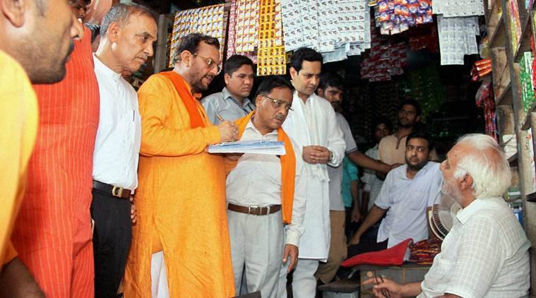 Kairana: BJP committee memebers talking to local people during BJP's nine members committee visit in Kairana, Uttar Pradesh on Wednesday. PTI Photo (PTI6_15_2016_000212B)