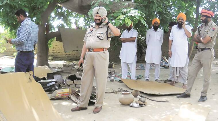 Police after the encounter of Haryana based gangster Ajay Kumar  Kannu at village village Jaga Ram Teerath in Bathinda.Express Photo by Gurmeet Singh