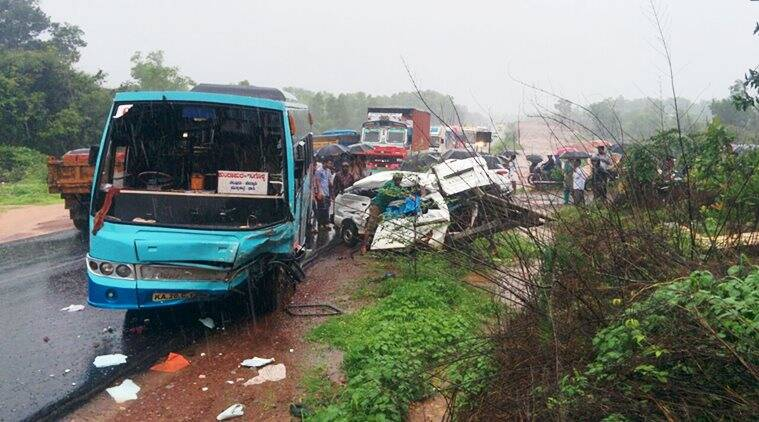 karnataka, karnataka accident, kundapur accident, school van accident, udupi accident, school kids accident, karnataka students dead, karnataka students killed, karnataka road accident, karnataka schoolchildren dead, school children killed