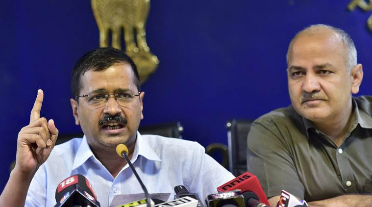 New Delhi: Delhi Chief Minister Arvind Kejriwal with his deputy Manish Sisodia gestures as he addresses a press conference in New Delhi on Tuesday.   PTI Photo by Kamal Kishore (PTI6_21_2016_000178b)