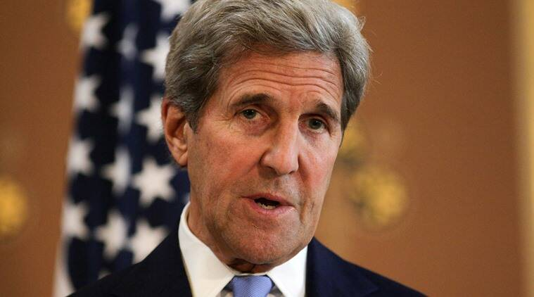 """US Secretary of State John Kerry holds a joint press conference after their meeting with British Foreign Secretary Philip Hammond at the Foreign and Commonwealth Office (FCO) in central London on Monday, June 27, 2016.  Kerry says the negotiations for Britain to leave the European Union must not """"cut the nose off to spite the face"""". He believes Britain and the EU can protect shared values and remain strong U.S. partners. (Daniel Leal-Olivas/Pool photo via AP)"""