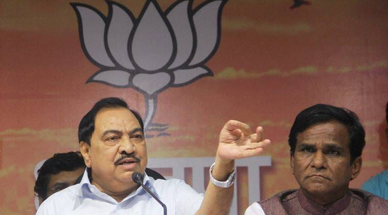 Mumbai: Maharashtra Revenue Minister Eknath Khadse addressing to media after resigning following allegations of impropriety in land deal, at BJP office, in Mumbai on Saturday . PTI Photo  (PTI6_4_2016_000123B)