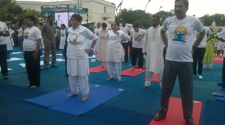 international yoga day, world yoga day, yoga day, yoga day puducherry, puducherry kiran bedi, yoga day kiran bedi, india news
