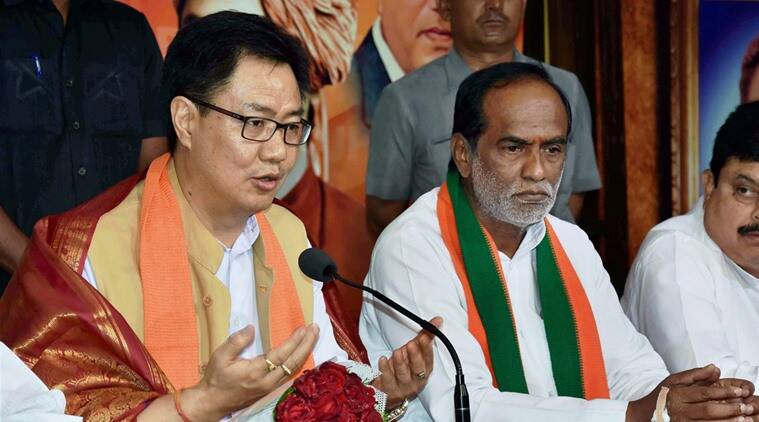 Hyderabad: Union Minister of State for Home Kiren Rijiju addresses the media in Hyderabad on Sunday. PTI Photo (PTI6_26_2016_000046B)