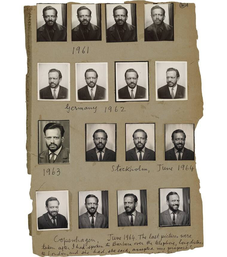 Passport size photographs of Souza pasted in his scrapbook in the 1960s.