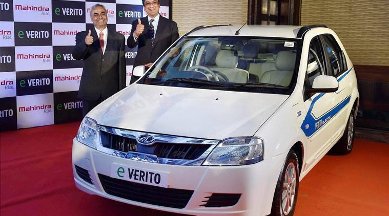 "New Delhi: President and Chief Executive (Automotive)Mahindra & Mahindra Ltd, Pravin Shah(L) and Arvind Mathew, CEO, Mahindra Reva Electric Vechicles Ltd, during the launch of Mahindra's all electric ""e Verito"" in New Delhi on Thursday. PTI Photo by Vijay Kumar Joshi(PTI6_2_2016_000108A)"