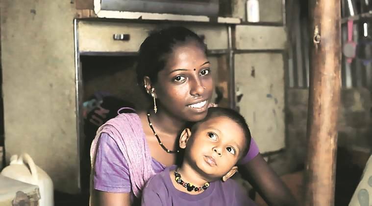 Pinky Kamane and her son Om . She refused re-marriage due to apprehensions that her kid may be mistreated buy her husband Express Photo by Amit Chakravarty 10-06-16,Mumbai