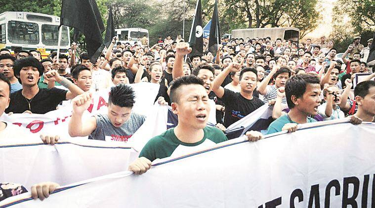 manipur clash, manipur bhavan, manipur protest, manipur protesters, inner line permit system, manipur house, indian express news, india news, delhi news