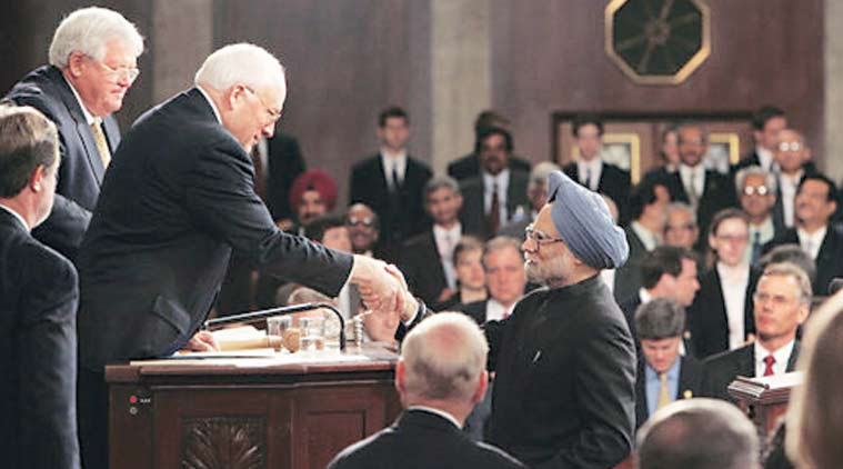 Vice-President Dick Cheney shakes hands with Singh after his address. To the left is House Speaker Dennis Hastert. (White House photo by David Bohrer)