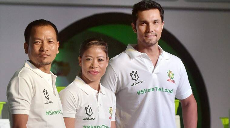 Mary Kom and Randeep Hooda during a promotional event
