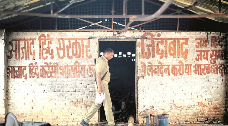 A policeman patrolling inside the Jawahar Bagh, Mathura on Sunday. Express photo by Oinam Anand. 05 June 2016