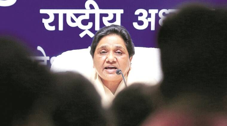 BSP National President Mayawati addressing a press conference at state party head office in Lucknow on saturday.Express photo by Vishal Srivastav 04.06.2016