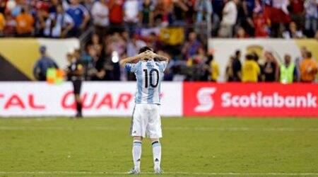 Jun 26, 2016; East Rutherford, NJ, USA; Argentina midfielder Lionel Messi (10) reacts during a shoot out against Chile in the championship match of the 2016 Copa America Centenario soccer tournament at MetLife Stadium. Mandatory Credit: Adam Hunger-USA TODAY Sports