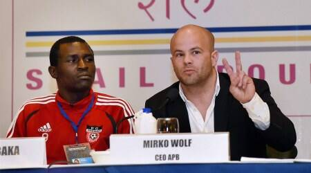 New Delhi : Mirko Wolf, MD of AIBA Pro Boxing and  Boxer Nickson Abaka of Kenya during a press conference in New Delhi on Friday, a day before the first AIBA Pro Boxing Night in the country. PTI Photo by Shirish Shete (PTI6_10_2016_000071A)