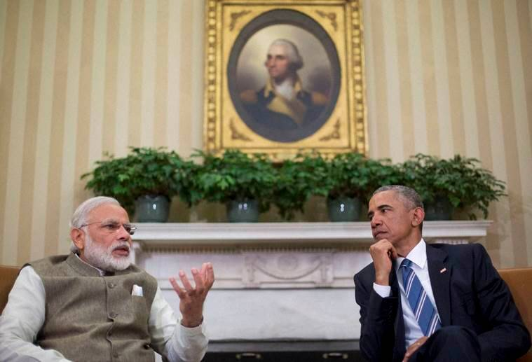 Washington :President Barack Obama listens as Indian Prime Minister India Narendra Modi speaks to members of the media during their meeting in the Oval Office of the White House in Washington, Tuesday, June 7, 2016. AP/PTI Photo(AP6_7_2016_000274B)