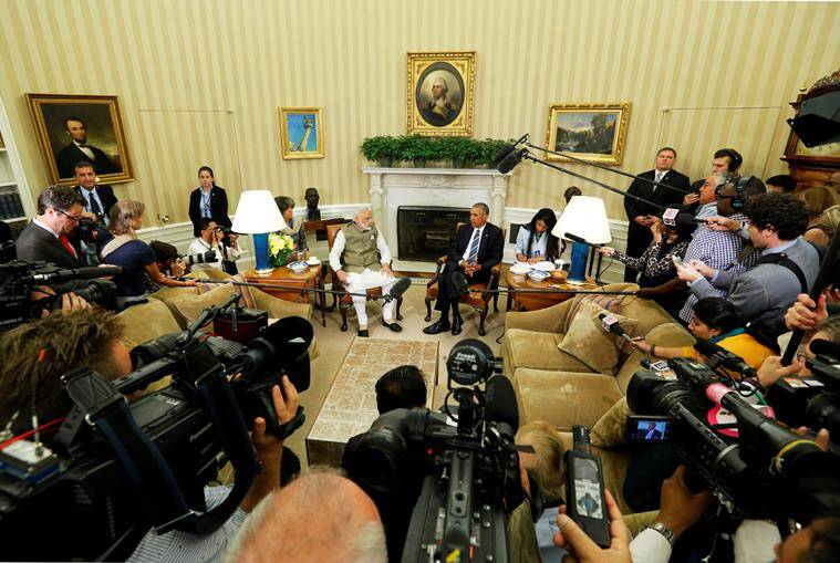India's Prime Minister Narendra Modi (center L) and U.S. President Barack Obama (center R) make remarks to reporters after their meeting in the Oval Office at the White House in Washington, U.S. June 7, 2016. REUTERS/Jonathan Ernst