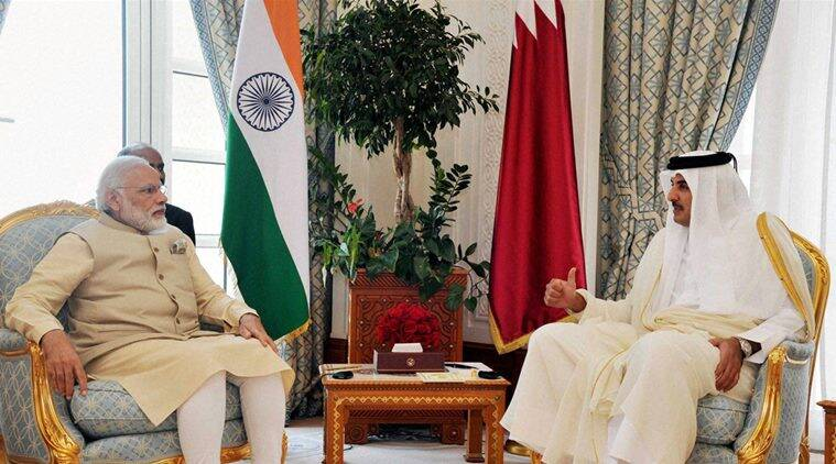 Doha: Prime Minister Narendra Modi and Emir of Qatar Sheikh Tamim bin Hamad Al-Thani during the delegation level talks at Emiri Diwan in Doha, Qatar on Sunday. PTI Photo(PTI6_5_2016_000170B)