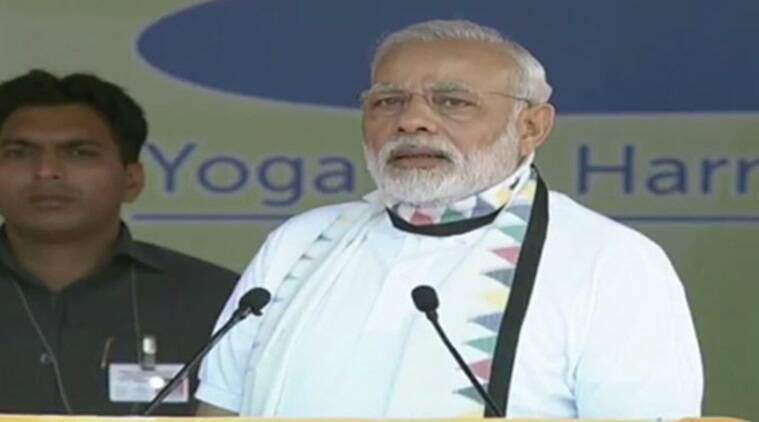 international yoga day, narendra modi, narendra modi international yoga day, international yoga day speech, narendra modi speech, chandigarh yoga day, india news