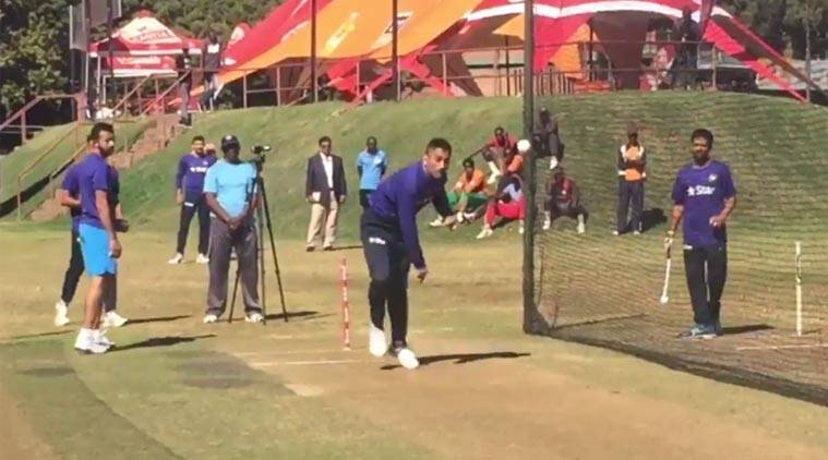 MS Dhoni bowls in the nets ahead of Zimbabwe ODIs, watch video ...