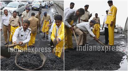 Fed up of potholes, these Mumbai cops decided to fix things themselves