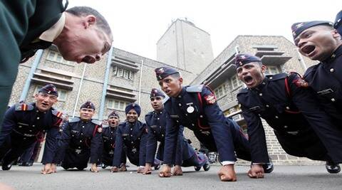 Cadets celebrating the completion of their course, having received degrees at the passing out parade for the 125th course at the National Defence Academy on Saturday. Express Photo by Sandeep Daundkar. Pune. 30.11.2013.