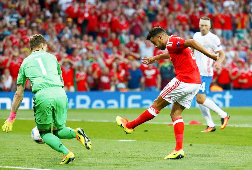 neil Taylor, Taylor, Taylor goal, Wales vs Russia, Russia vs Wales, Euro 2016, Euro 2016 results, football