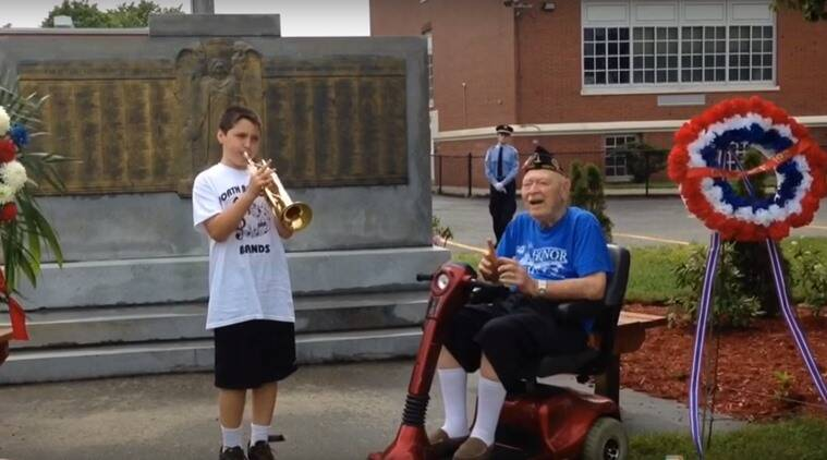 11 year old pays tribute to world war II veteran, memorial day tribute, 11 year old plays trumpet for war veteran after parade gets cancelled, Nicholas Degregorio