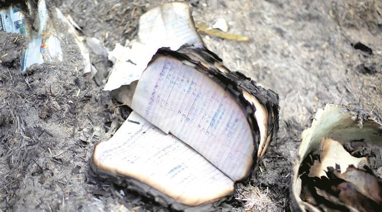 A burnt notebook on the Jawahar Bagh premises in Mathura on Sunday. Express photo by Oinam Anand